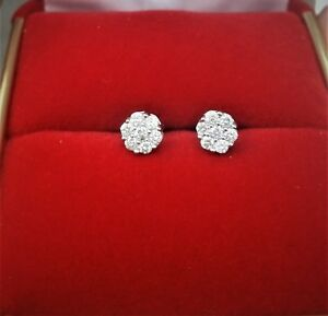 DEAL of THE DAY! 10K Gold Genuine Diamond Round Cluster Studs Earrings .25ct 5MM