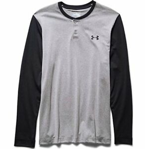 Under Armour ColdGear Infrared Henley - Mens True Gray Heather  Stealth