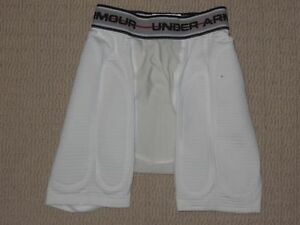 Boys Under Armour Cup Pocket Compression Padded Shorts Youth Medium YMD White