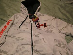 NEW Mens UNDER ARMOUR Coldgear White w Gray Camo INFRARED Hoodie Lg FREE SHIP