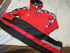 NEW Boys UNDER ARMOUR 2Pc Outfit BlkRed Hoodie+Pants COLDGEAR YLG FREE SHIP!