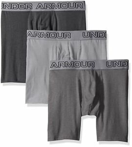 """Under Armour Mens Charged Cotton Stretch 6"""" Boxerjock 3-Pack SteelGraphite"""