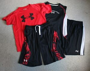 Lot 4 UNDER ARMOUR Youth Boys Shirts Shorts Outfits Sets YLG LARGE 1416