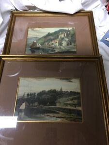 Vintage Lithographs 2 Art Print Water Sail Boats Houses Italy ? $95.00