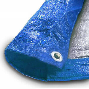 Blue Silver Tarp 5 Mil Water Resistant Tarps Multi Purpose All Weather Tarpaulin