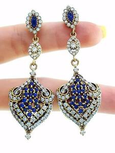 TURKISH OTTOMAN HANDMADE JEWELRY 925 STERLING SILVER SAPPHIRE EARRINGS E2653