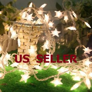 Warm White 10 20 30 40LED Indoor Christmas Party Decor String Star Fairy Lights