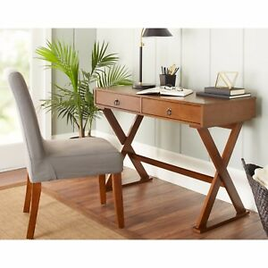 Computer Writing Desk Campaign Workstation 2 Drawers Wood Console Table Entryway