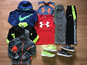 Nike & Under Armour Boys Lot Size 5 Hoodies Zip Up Pants Tanks Shoes Size 1