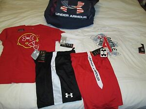 NEW Boys UNDER ARMOUR 4Pc OUTFIT 2 GRAPHIC TEES+2 SHORTS Ylg FREE SHIP! MUST SEE