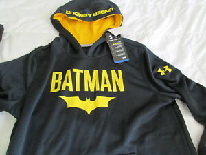 NEW Boys UNDER ARMOUR Alter Ego BATMAN Hoodie COLDGEAR Black YLG  FREE SHIPPING
