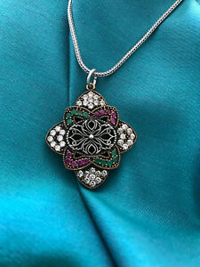 Turkish Silver Filigree Design Colorful  Pendant Necklace
