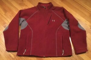 UNDER ARMOUR BOYS YOUTH XL YXL FLEECE SWEATSHIRT LOOSE FULL ZIP JACKET MAROON