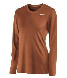 Nike Women's Team Legend Long Sleeve Dri Fit Tee Shirt Burnt Orange XS XL
