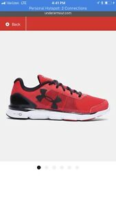 Under Armour boys running shoes size 6. Red 1266302-600