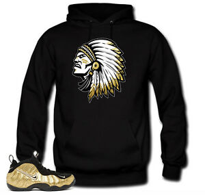 Hoodie to match Metallic Gold Foamposite Pro sneakers The chief  Black Hoodie
