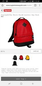 Supreme North Face Leather Day Pack Backpack Red Sold Out WITH Stickers in pics