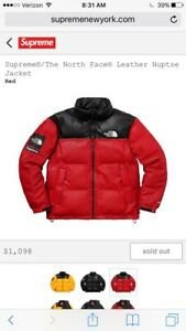 Supreme FW17 The North Face Leather Nuptse Jacket - Red - Large *CONFIRMED*