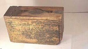 Antique WOODEN AMMUNITION AMMO BOX Cartridge Storage Container Dovetail Joints