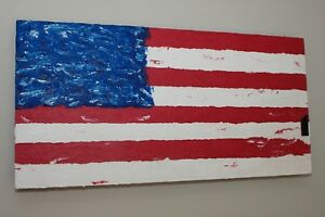 Original Hand Painted Abstract American Flagpainted on a wood 2ft x 4ft frame!