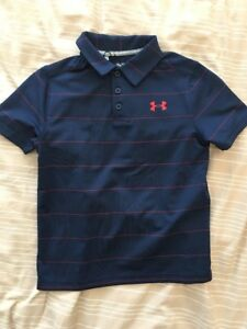 Under Armour Boys Striped Golf Polo Shirt 1293963 Youth XS New Blue Red