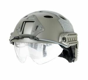Tactical Airsoft Paintball Fast Helmet PJ Type wRetractable Visor Foliage Green