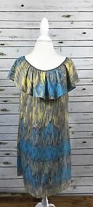 Banana Republic Yellow Blue Gray Striped Ruffle Neck Shift Dress Size 8 Summer