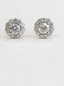 1.86 ctw Round Diamond Floral Cluster Halo Cocktail Stud Earrings 14k White Gold