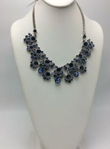 $225 Givenchy silver tone blue crystal statement necklace 183 GN