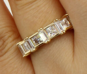 2 Ct 14K Yellow Gold Square Princess Baguette Cut Wedding Anniversary Ring Band