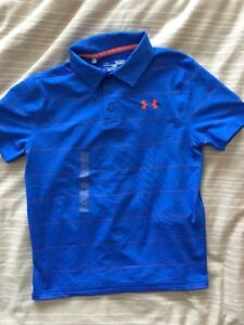 Under Armour Boys Striped Golf Polo Shirt 1293963 Youth Small New Blue Orange