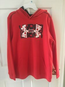 NWT Under Armour Boys Sweatshirt Hoodie Size Youth XL Red Black White YXL *GIFT!