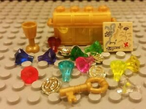 Lego NEW Pirate GOLD TREASURE CHEST w 11 Jewels Gems Coins Map amp; Gold Key Cup