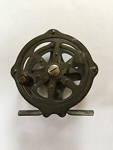 Antique Brass Single Action Fly Reel No. 80 - Made in USA - Maker Unknown