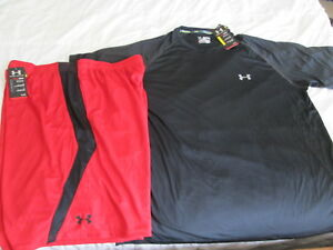 NEW Mens UNDER ARMOUR 2Pc WORKOUT Outfit Blk Run Top+Red Shorts 2XL FREE SHIP