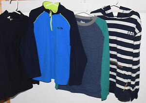 Boys Size M 8-10 Under Armour Turtleneck Long Sleeve Shirt Striped Hoodie 191
