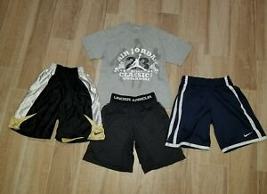 BOYS Logo UNDER ARMOUR NIKE Dri fit SHORTS Jordan  tshirt LOT SIZE  SMALL S