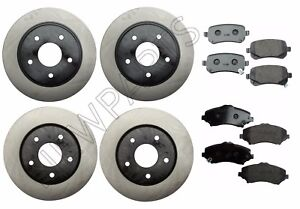 For VW Routan Set of 2 Rear & 2 Front Brake Rotors+Pads NewParts Premium