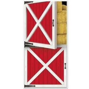 Red Barn Door Cover All Weather Indoor Outdoor Farm Birthday Party Decoration