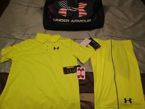 NEW Boys UNDER ARMOUR 2Pc GOLFATHLETIC Outfit Solar Shorts+POLO YLG FREE SHIP