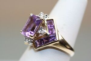 Estate 14k Yellow Gold Emerald Cut Channel Set Amethyst Diamond Ring Size 6