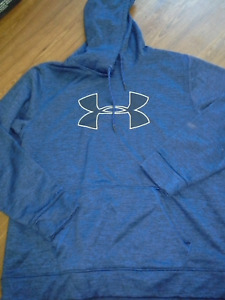 UNDER ARMOUR Men's Hoodie sz XL Loose Storm1 Logo Marbled Blue & Black