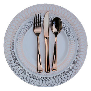 Dinner - Wedding Disposable Plastic Plates & silverware Set ROSE GOLD Oval