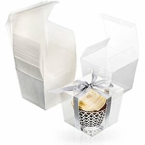 Box Clear Food Grade PET Party Favor Boxes Pre-Folded Cubes 25 units 3x3.5x3 in
