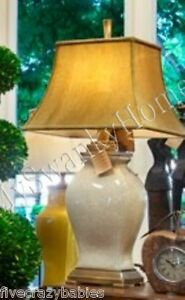 Posh IVORY WHITE Crackled Ceramic Table Lamp Large Cream Bronze GUMPS SF Horchow