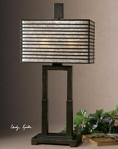 Contemporary Designer Geometric Bronze Metal Table Lamp with Mica Shade