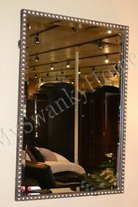 Large 31quot; SILVER BEADED Vanity Mirror Rectangle NEIMAN MARCUS Wall Contemporary $327.80
