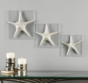 Starfish Silver Wall Sculptures Set of 3 Contemporary Grouping Column $286.00