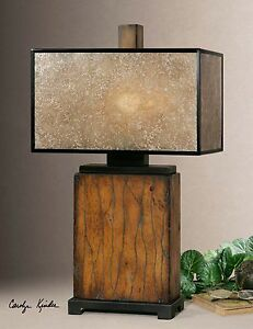 Designer Rustic Wood Contemporary Table Lamp