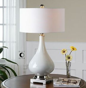 Designer Gloss White Ceramic Table Lamp